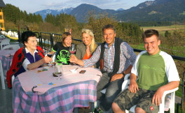 Enjoying the panorama view at the terrasse, Fritz Strobl with family
