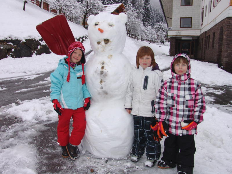 Children built a snowman