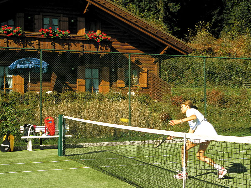 Tennis courts with Biohaus in the background
